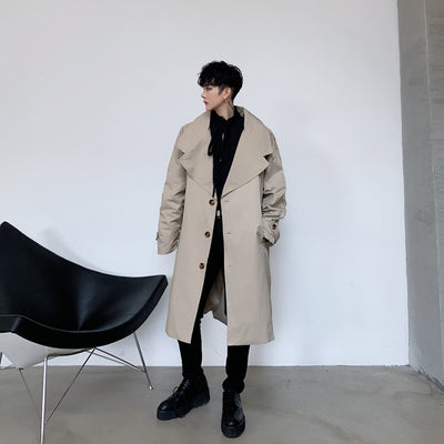 Large lapel mid-length loose fit Trench coat Mac jacket