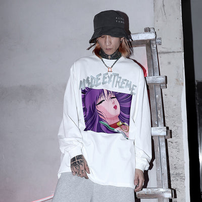 long-sleeved oversize two-dimensional anime printed Sweatshirt