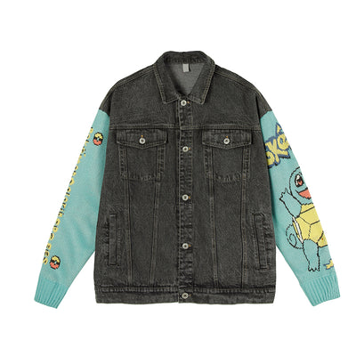 denim casual knitted sleeve stitching jacket