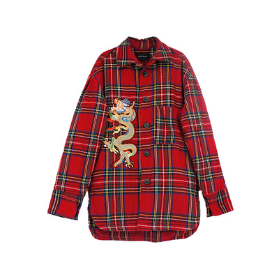 Premium Dragon Embroidery stand collar Custom Plaid tartan shirt in red