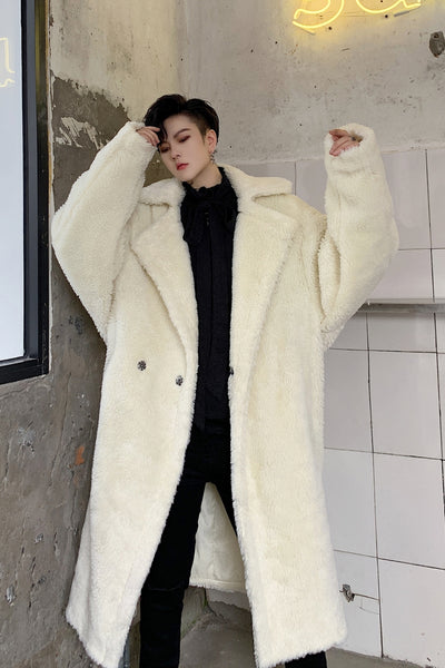 Loose bat sleeve thick fake lamb fleece mid-length coat in 2 colors