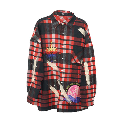 woolen hand painted shirt in black