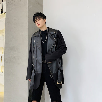 double sleeves stitching Pu fake leather longer length biker jacket