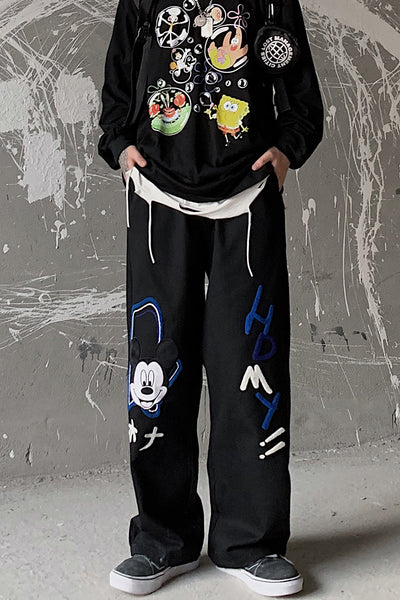 cartoon embroidery loose wide-leg trousers