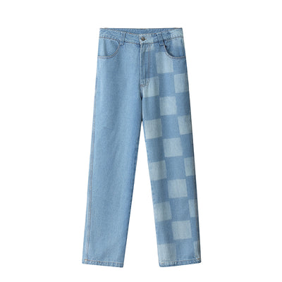 plaid casual loose jeans
