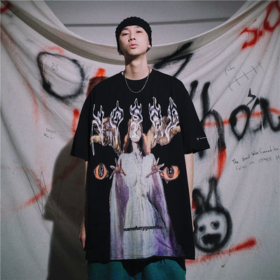 Summer Goth Ghost Printed Short Sleeve Oversize T-Shirt
