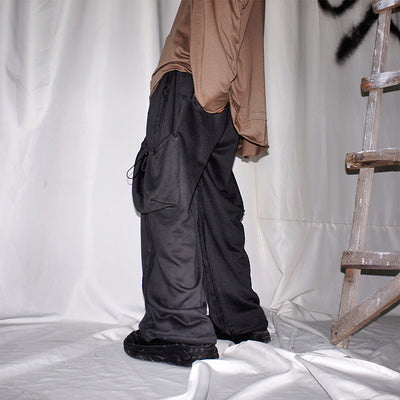 Loose fit big Pocket beam adjustable knitted casual pants in 2 colors