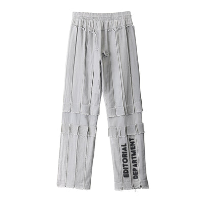 letter printed straight casual pants