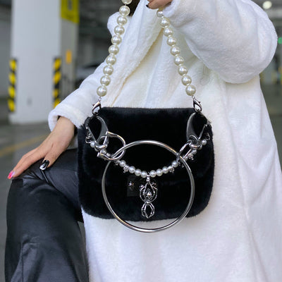 Original Metal Ring Pearl Chain Plush One Shoulder Multiple Back Concave Style Bag