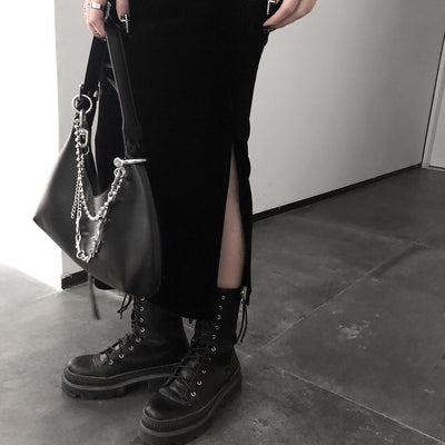 moon shadow black Hepburn suspender skirt