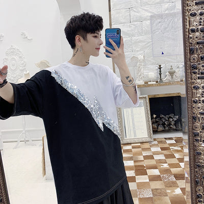 black and white stitching shiny sequin loose fit half-sleeved t-shirt