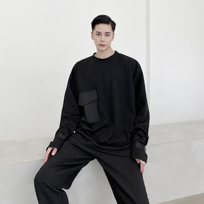 pleated long-sleeved T-shirt