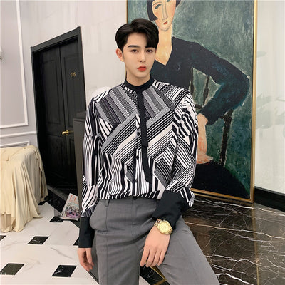 black and white striped long-sleeved high fashion shirt in black