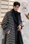 Plaid check single breasted long knee length PU leather finish Trench coat Mac jacket