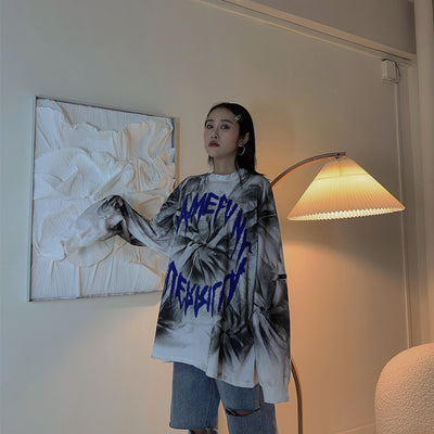 tie-dye long-sleeved oversize loose casual top