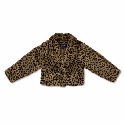 Leopard print Loose fit Totem Embroidery cropped Coat