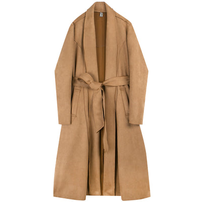 Suede finish over-the-knee loose fit Trench coat jacket in 2 colors