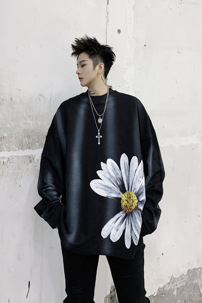 sunflower daisy painted washed out loose fit sweatshirt in grey or black