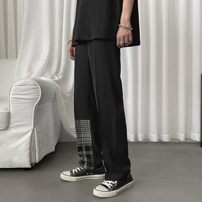 plaid stitching casual mopping pants