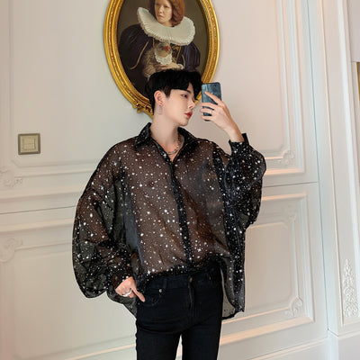 bat wing fit  See through transparent loose fit glitter shirt in 2 colors