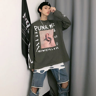 long-sleeved oversize loose printed sweater