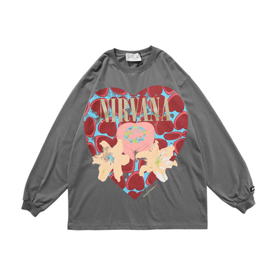 love printed loose long-sleeved casual oversize sweater