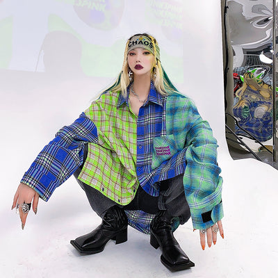 color plaid loose oversize shirt