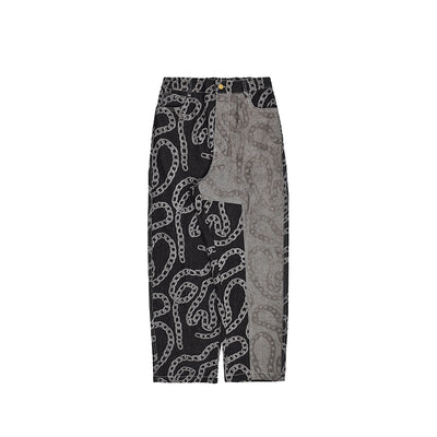printed loose straight trousers
