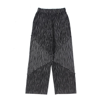 zebra pattern stitching wide-leg denim trousers