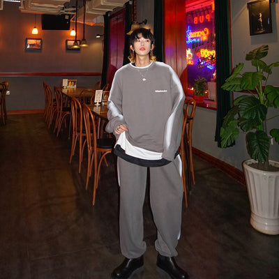 Sports set unusual double layered embroidered sweatshirt tracksuit and matching joggers in 3 colors