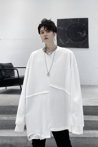 Autumn stitching loose oversize casual bottoming shirt