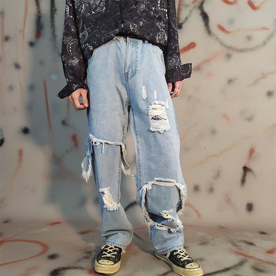 fake two piece hole straight distressed jeans