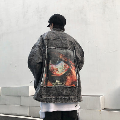 washed snowflake denim jacket