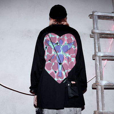 long-sleeved oversize love printing hip-hop shirt