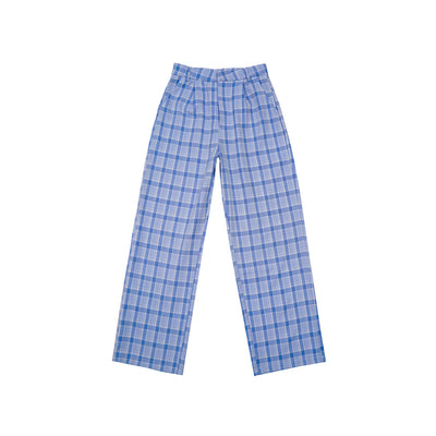 vintage plaid wild loose casual trousers