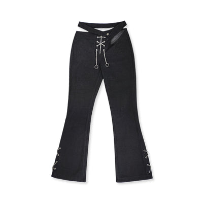 Small Waist Deconstructed Punk Metal Chain Slim fit Girl  Denim pants