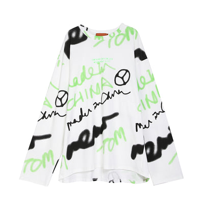 long-sleeved fluorescent t-shirt graffiti print thin sweatshirt in 2 colors
