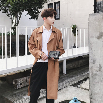 Unusual unisex trench coat long Men mac coat