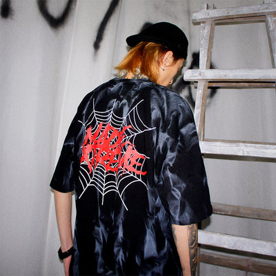 Spider web print Tie-Dye washed out Oversize Short Sleeve Men T-Shirt