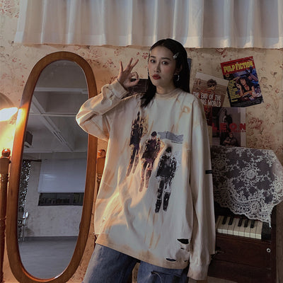 tie-dye long-sleeved oversize loose casual t-shirt