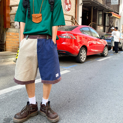 summer stitching loose casual pants