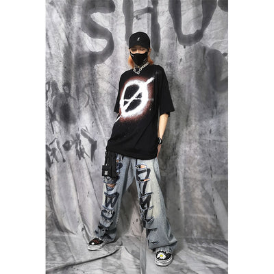 Shut up culture OVERSIZE prohibited logo graffiti hip-hop street tide brand funeral sub-dark graffiti T-shirt