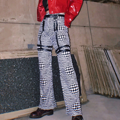 geometric check print high waist thin wide leg Girl casual trousers with pu leather loops