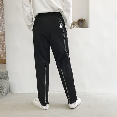 Wide back zipper loose straight fit smart trousers