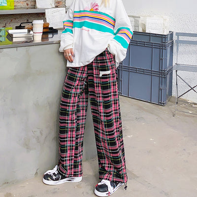 Original Pistol Logo Casual Straight fit plaid check neam adjustable girl casual pants
