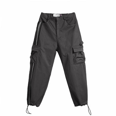beam adjustable reflective loose fit cargo pocket casual pants in 3 colors
