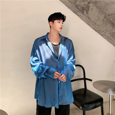 polarized loose fit luminous party shirt in bright blue