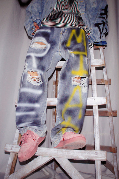 hand-painted graffiti made to look old distressed straight fit oversize jeans in 4 colors