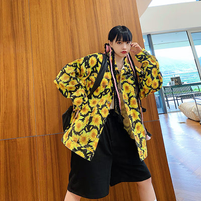 full printed long-sleeved jacket