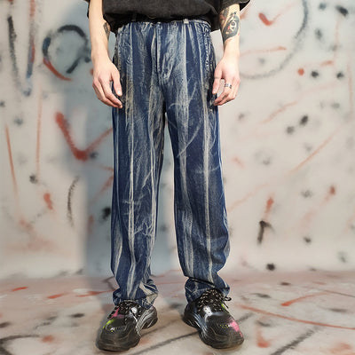 Washed out Gradient Tie-Dye Loose Straight Jeans